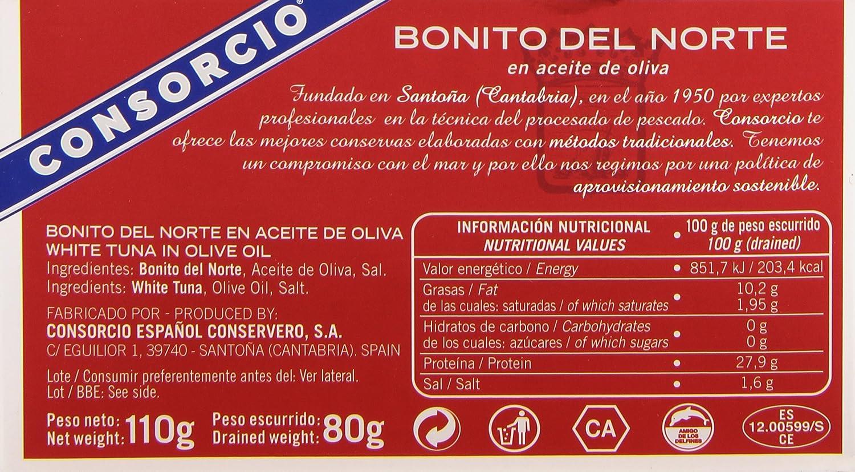 Consorcio Bonito del Norte en Aceite de Oliva, 110g: Amazon ...