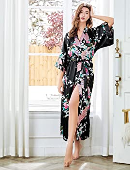 Babeyond Women S Kimono Robe Long Robes With Peacock And Blossoms Printed Kimono Outfit Black At Amazon Women S Clothing Store