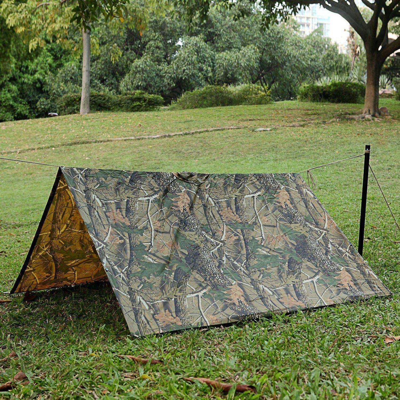 Rain Poncho, LOOGU Waterproof Camouflage Rain Coat Outdoor Camo Shelter Ground Sheet by Rain Poncho (Image #4)