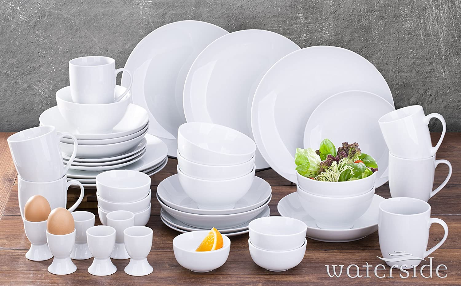 42 Piece Simply White Coupe Dinner Set Waterside Fine China
