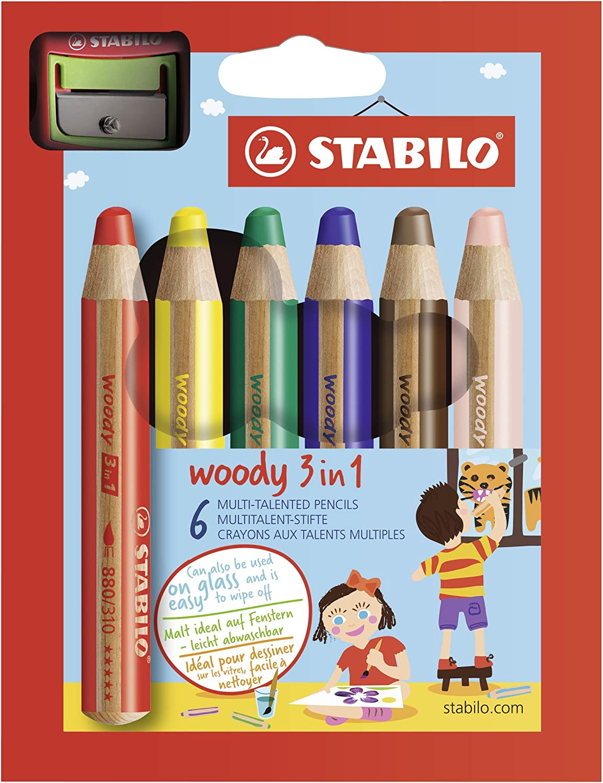 Buntstift, Wasserfarbe & Wachsmalkreide - STABILO woody 3 in 1 - 10er Pack mit Spitzer - mit 10 verschiedene Farben SW880-10-2 Holzstift Wachsmaler Wasservermalbar