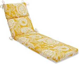 "Pillow Perfect Outdoor/Indoor Addie Egg Yolk Chaise Lounge Cushion, 72.5"" x 21"", Yellow"