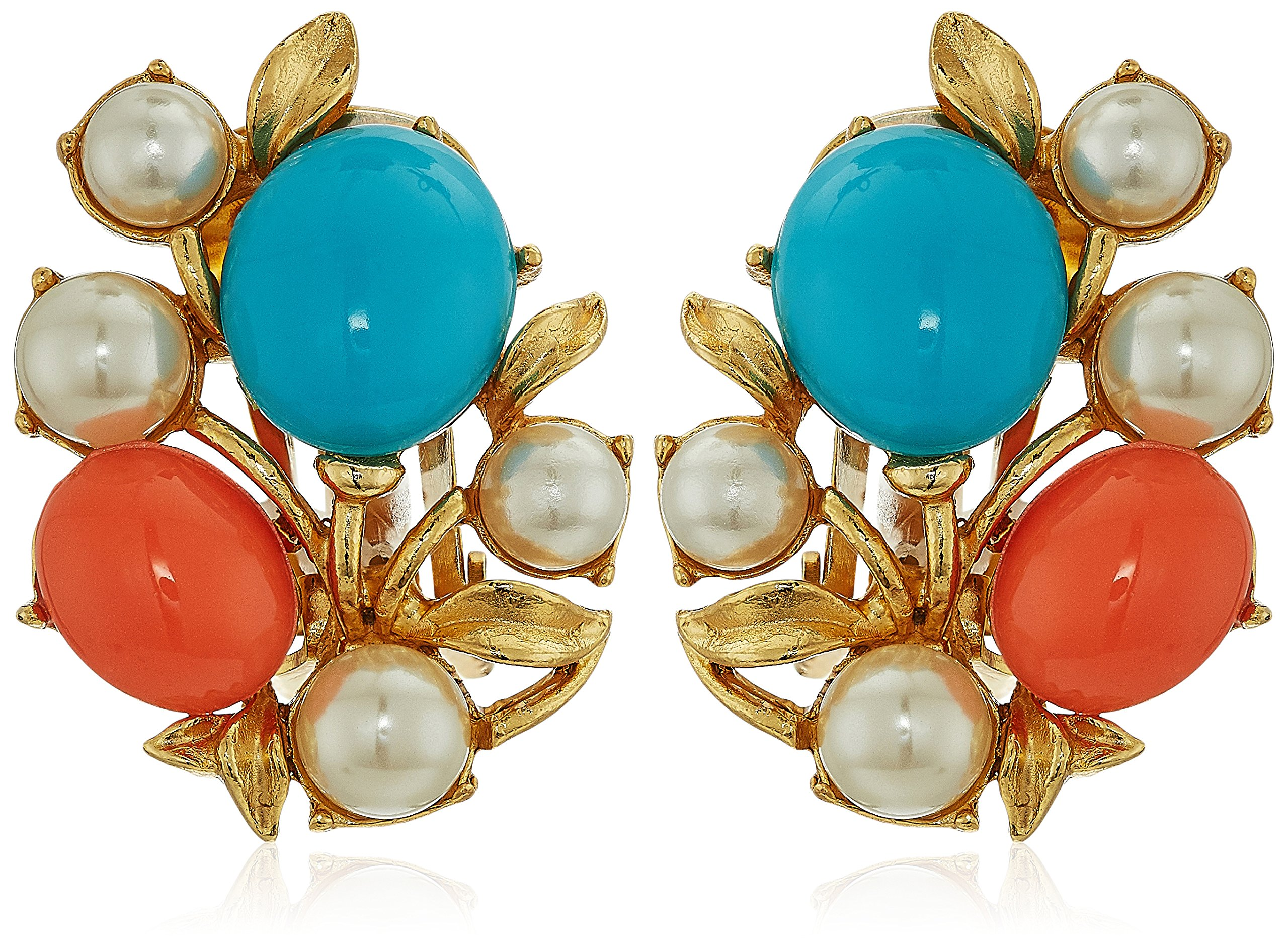 Ben-Amun Jewelry Santorini Turquoise Coral Stone Glass Pearls Gold Clip On Earrings by Ben-Amun Jewelry