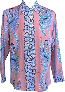 product image for Paradise Found Kamehameha Mens Lei Lady Long Sleeve Shirt Salmon S