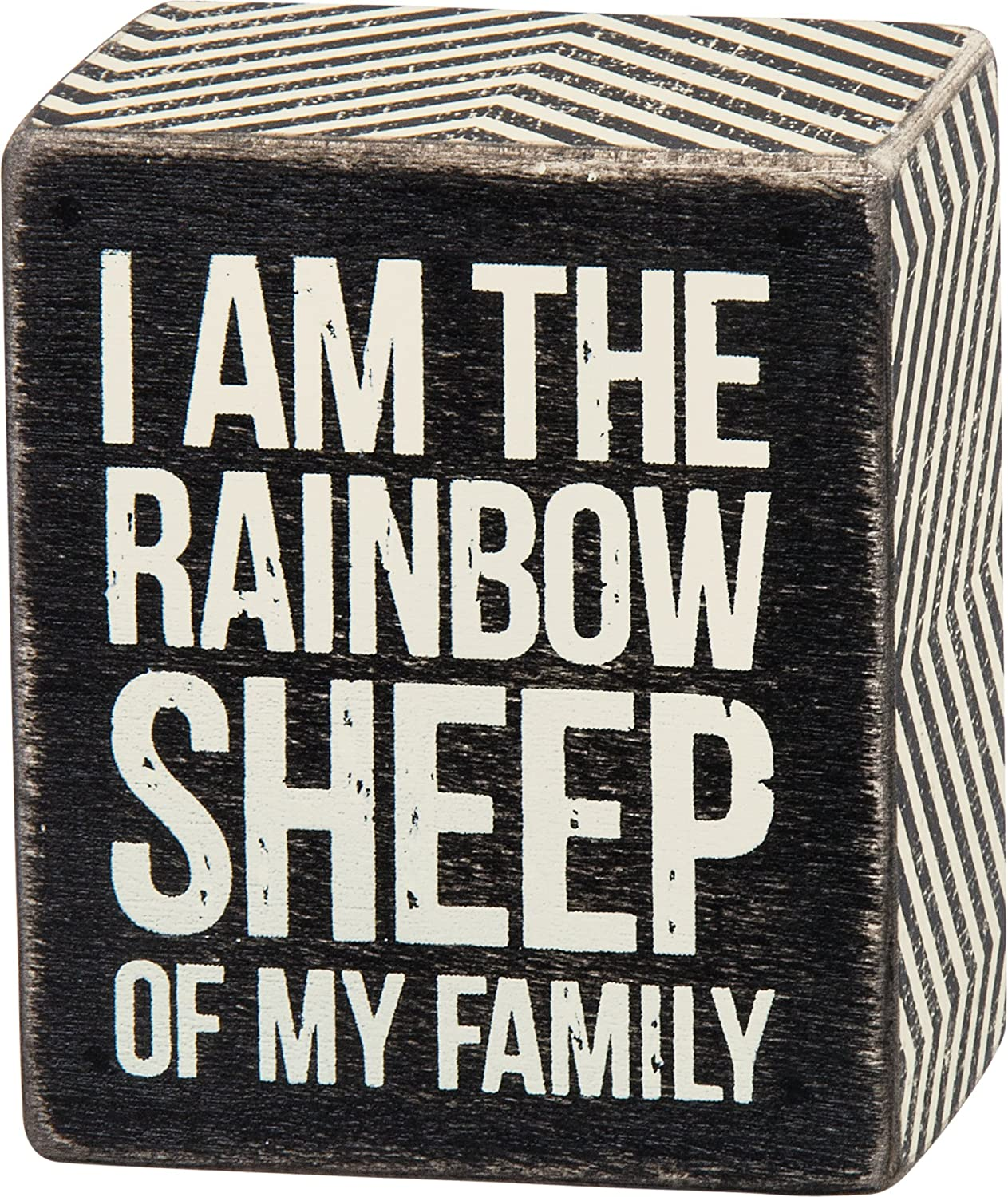 "Primitives By Kathy 2.5"" X 3"" Wooden Box Sign: ""I Am The Rainbow Sheep In My Family"" Gay Lesbian LGBT Pride"