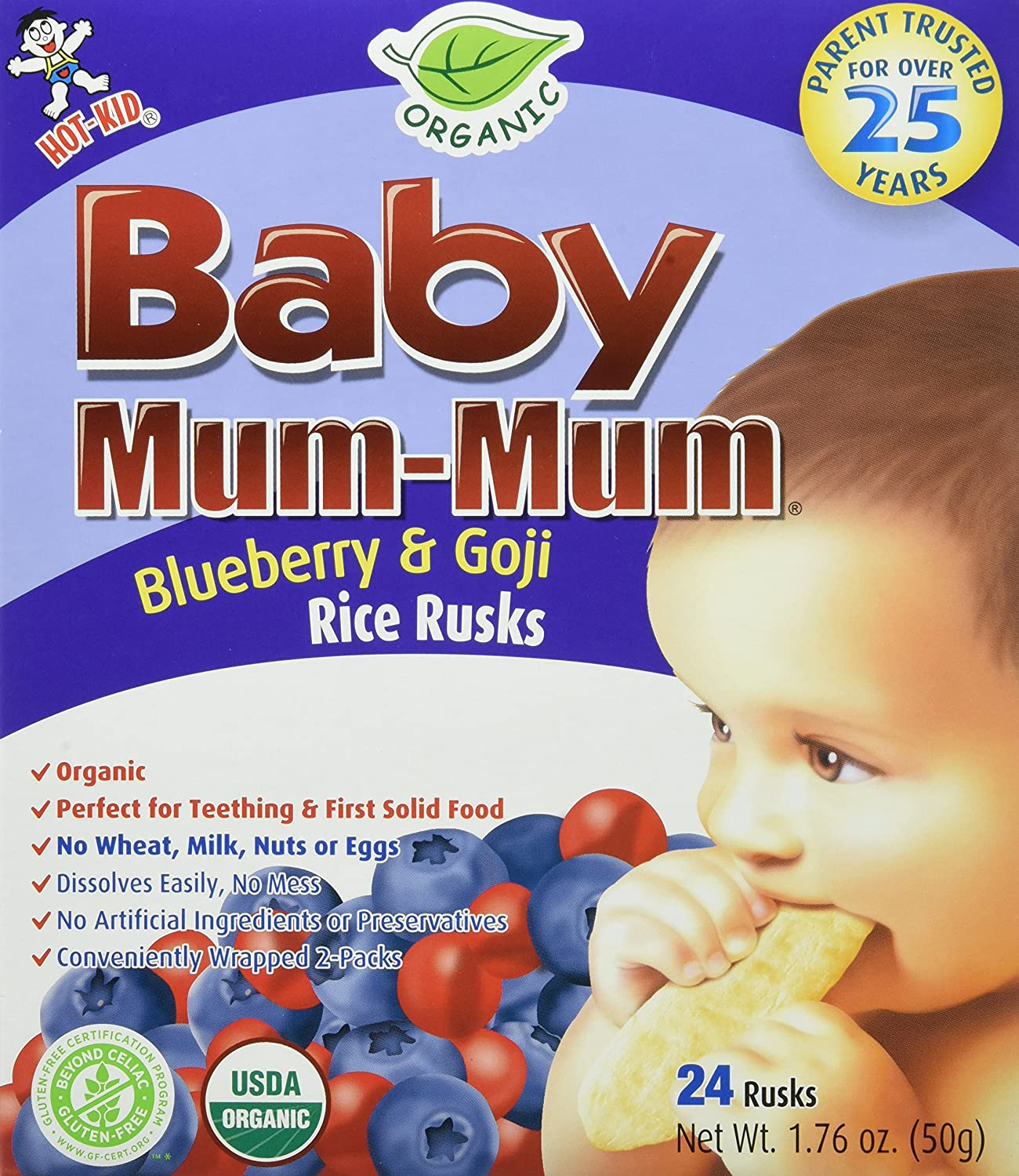 Hot Kid - Baby Mum Mum Organic Rice Rusks Teething Snacks Original - 24 Count