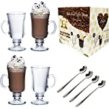 Ever Rich® 4 x Irish Coffee / Latte Glasses 230ML/300ML with Free Spoons,230ML