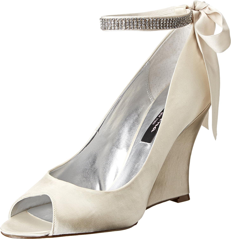 NINA Womens Emma Peep Toe Ankle Strap