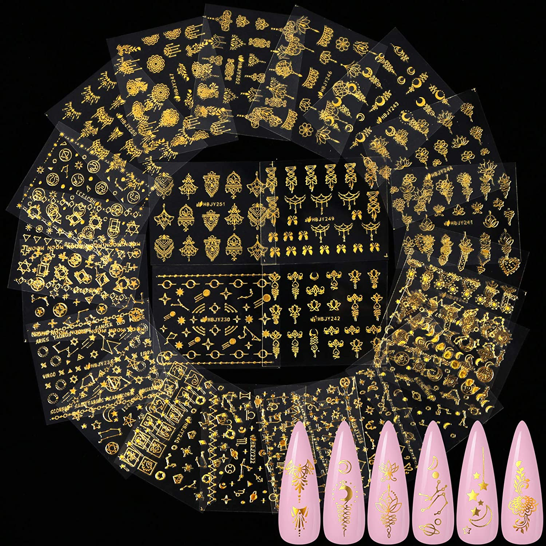 24 Pcs Gold Flowers Universe Nail Art Sticker, KISSBUTY Gold Flowers Stars Moon Nail Decals Thin Gummed Flowers Nail Adhesive Stickers Gold Constellation Starry Sky Nail Art Decor