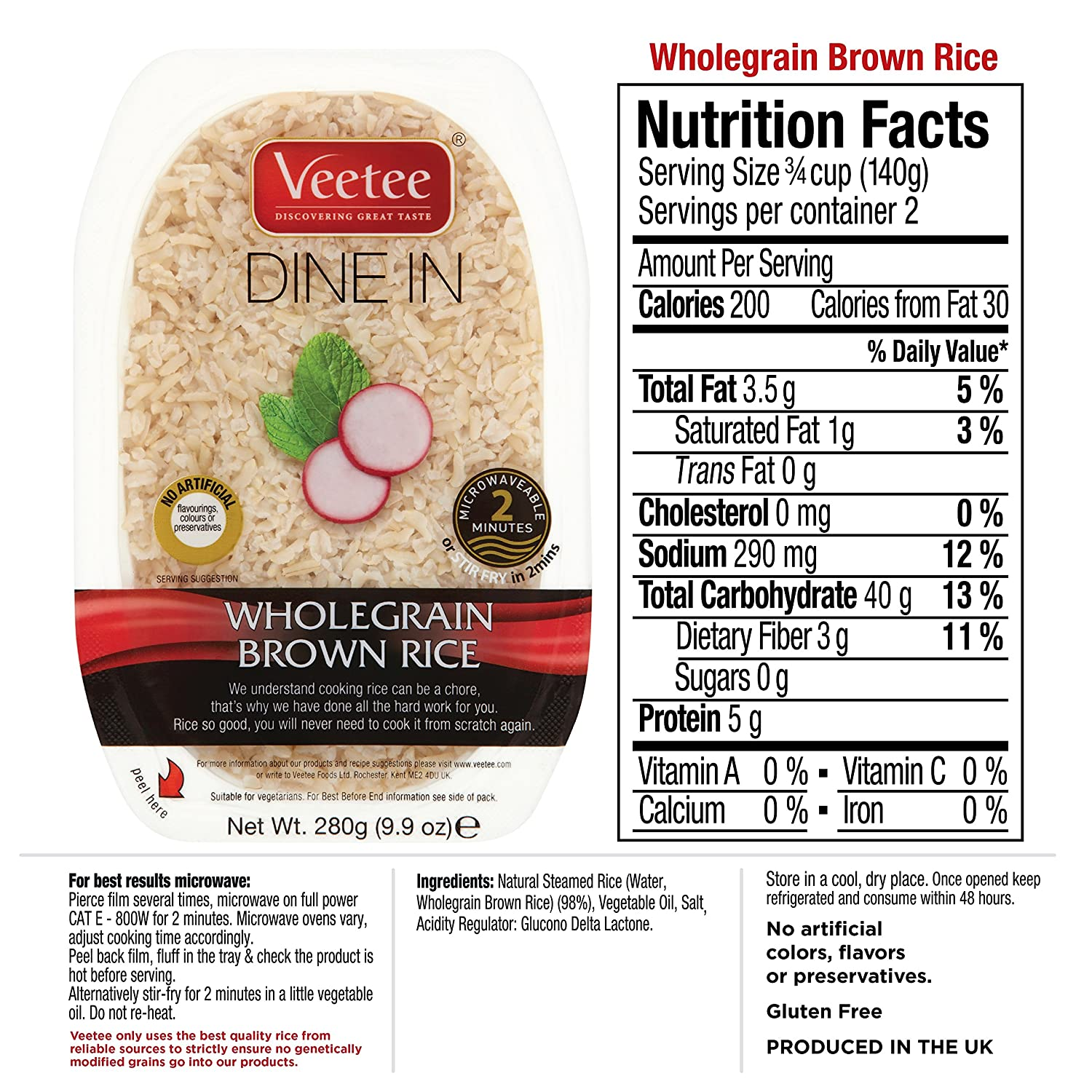 Amazon : Veetee Dine In Rice Wholegrain Brown Rice Microwavable Rice, Ready  In 2 Minutes
