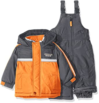 5adbeb129 London Fog Baby 2 Piece Heavyweight Color Block Snowsuit, Orange, 12 Months