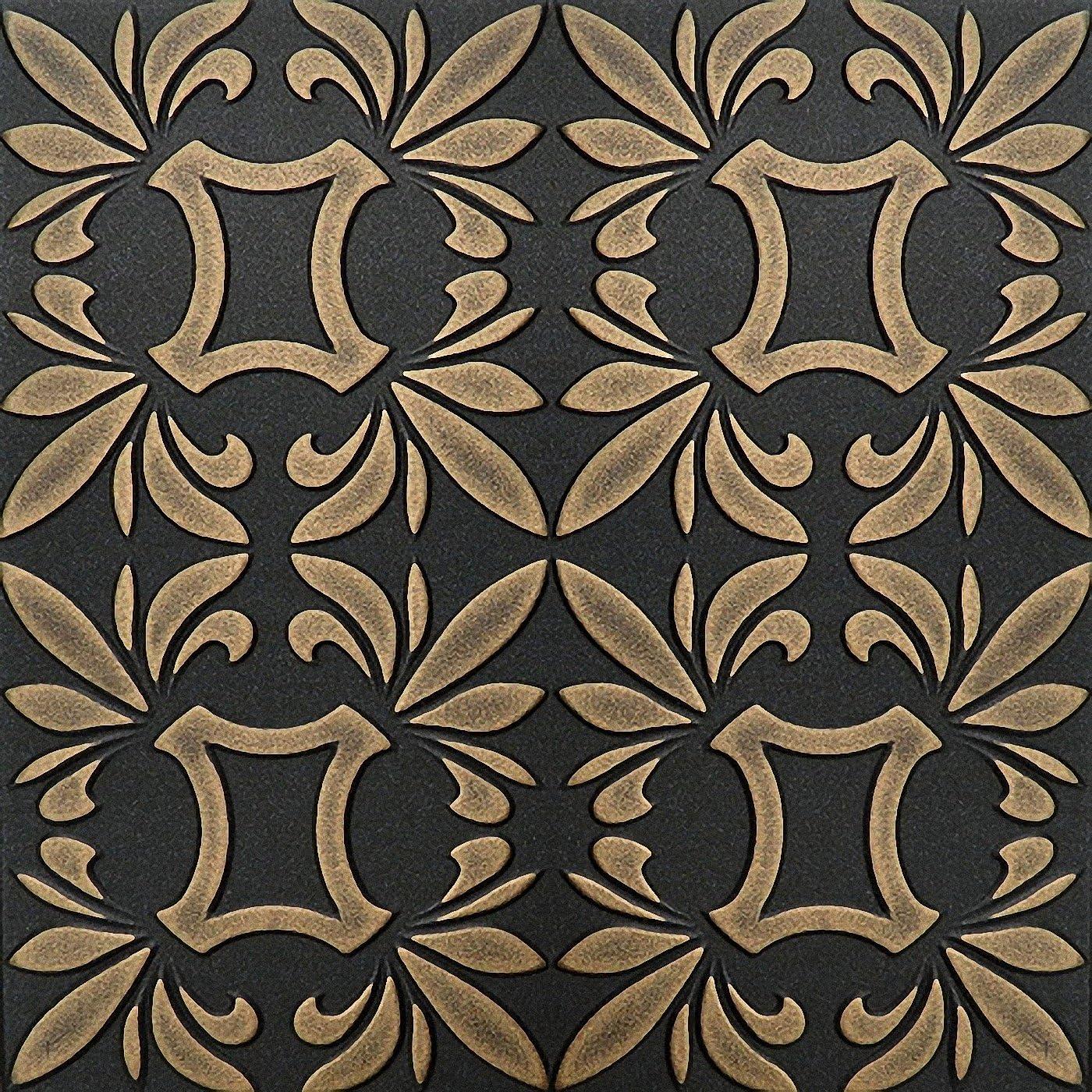 500 x 500 mm Peint /à la main en mousse polystyr/ène Dalles de plafond r/étro 112/Noir/ /Or