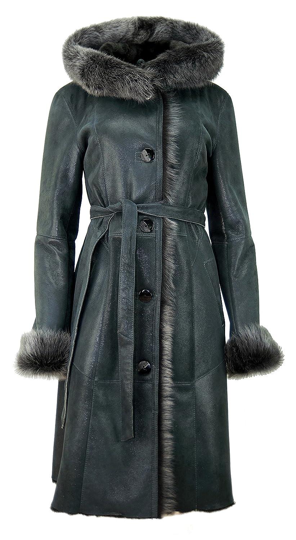 DX Exclusive wear Damen Schaffellmantel, Lammfellmantel mit Toscana Fell KPKD 0013