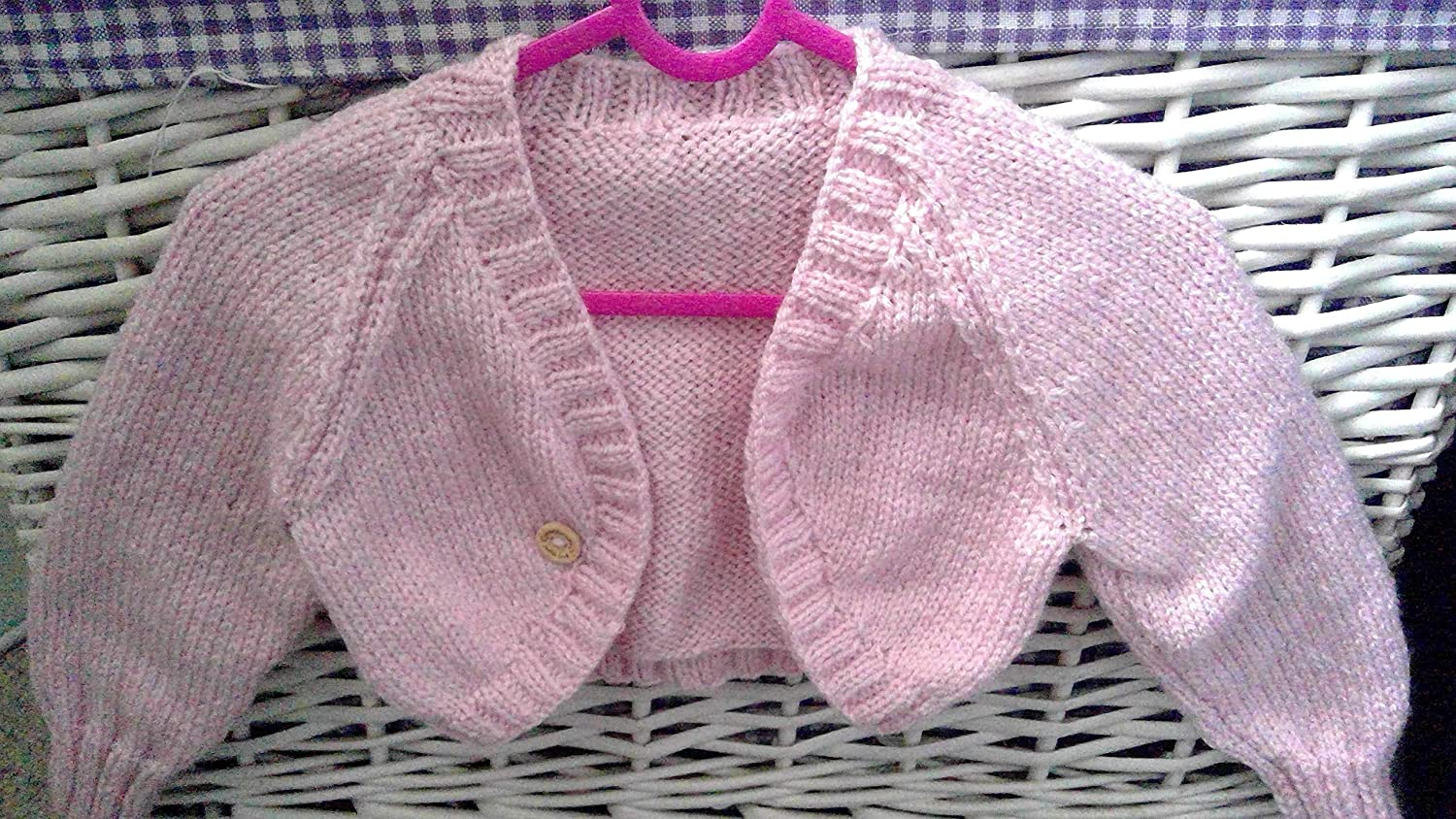 Peony dress and cardigan set aged 2-3 years Gorgeous little girls hand made cotton dress in pink peony fabric with powder pink knitted bolero cardigan.
