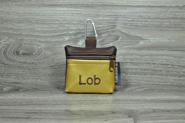 Edelzosse Mini-Gassibeutel &Leckerlitasche Braun-Gold bestickt LOB Kunstleder