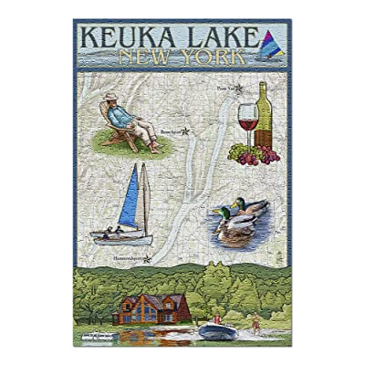 Keuka Lake, New York - Nautical Chart (Premium 500 Piece Jigsaw Puzzle for Adults, 13x19, Made in USA!): Toys & Games