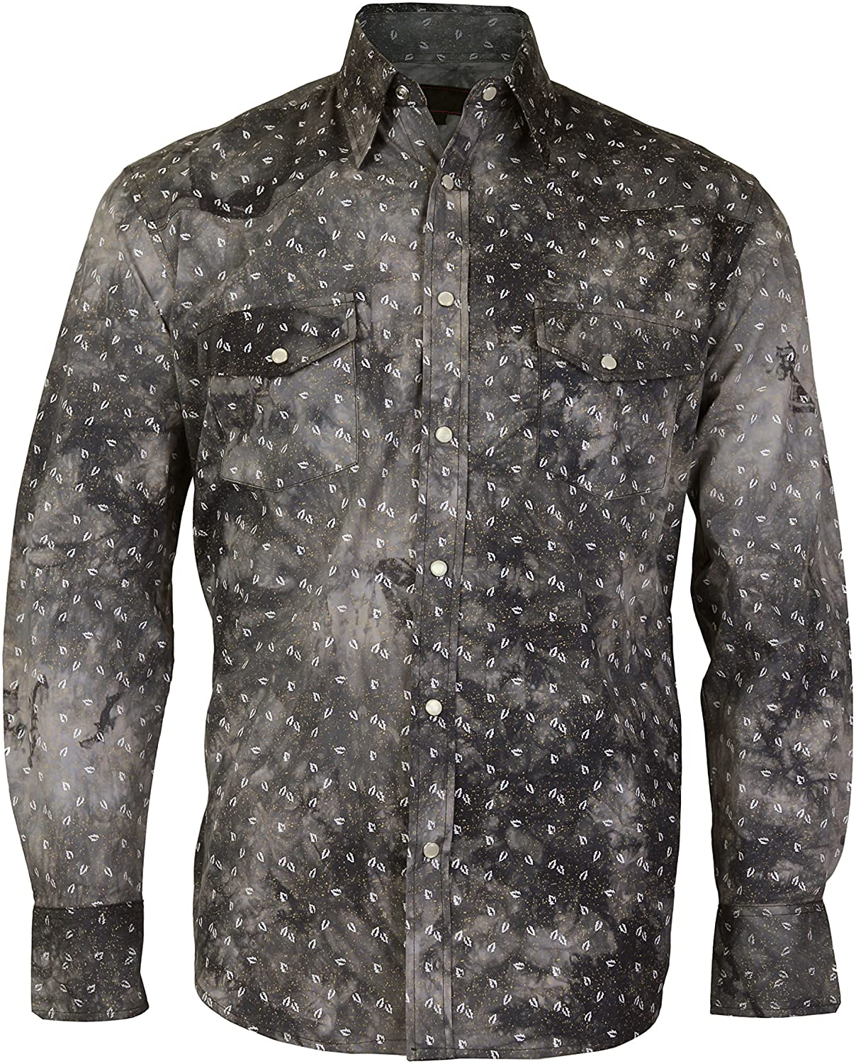 LW Mens Western Cowboy Pearl Snap Long Sleeve Slim Fit Rodeo Casual Dress Shirt
