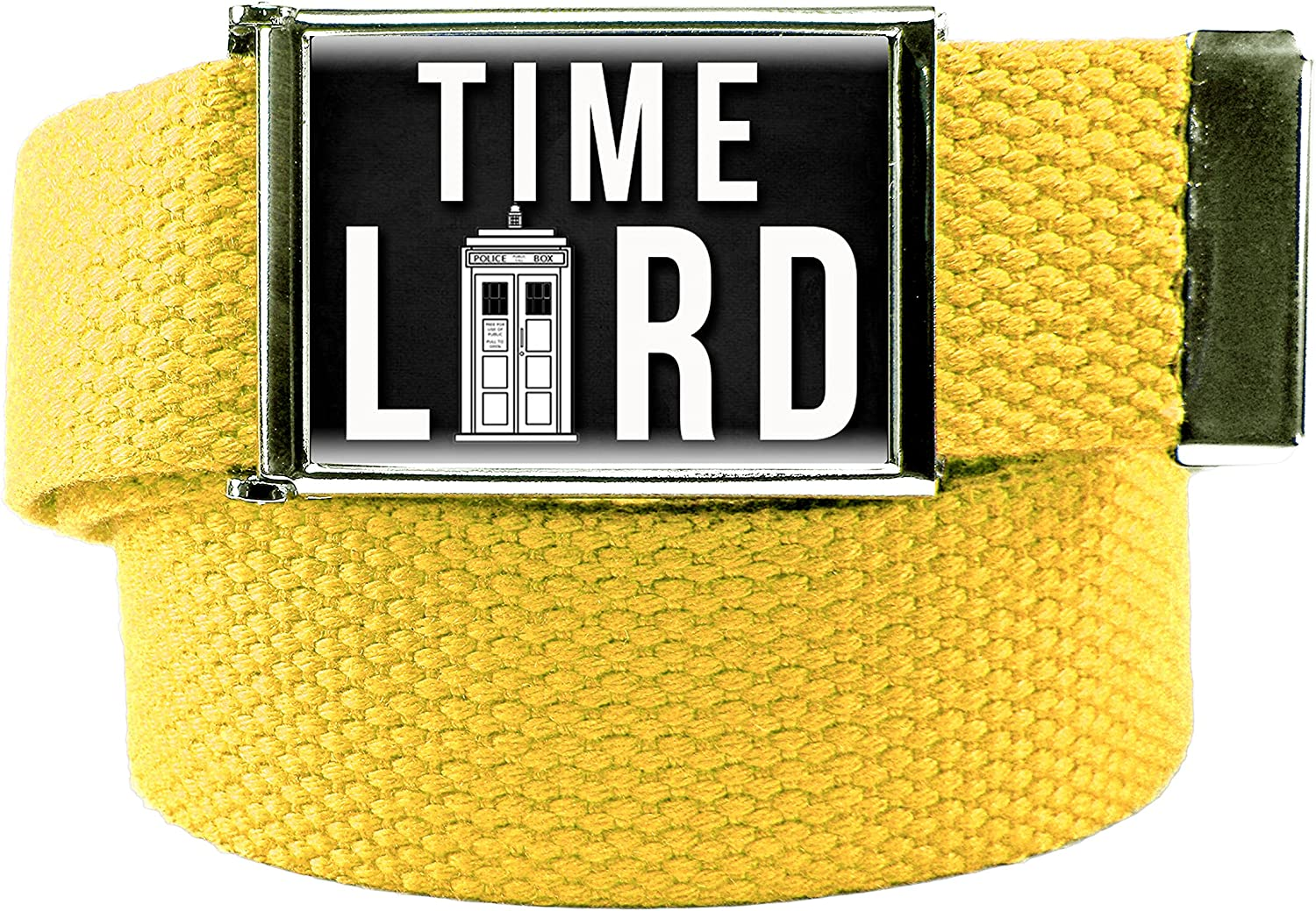 Time Lord Mens Flip Top Bottle Opener Belt Buckle with Canvas Web Belt XXX-Large Yellow