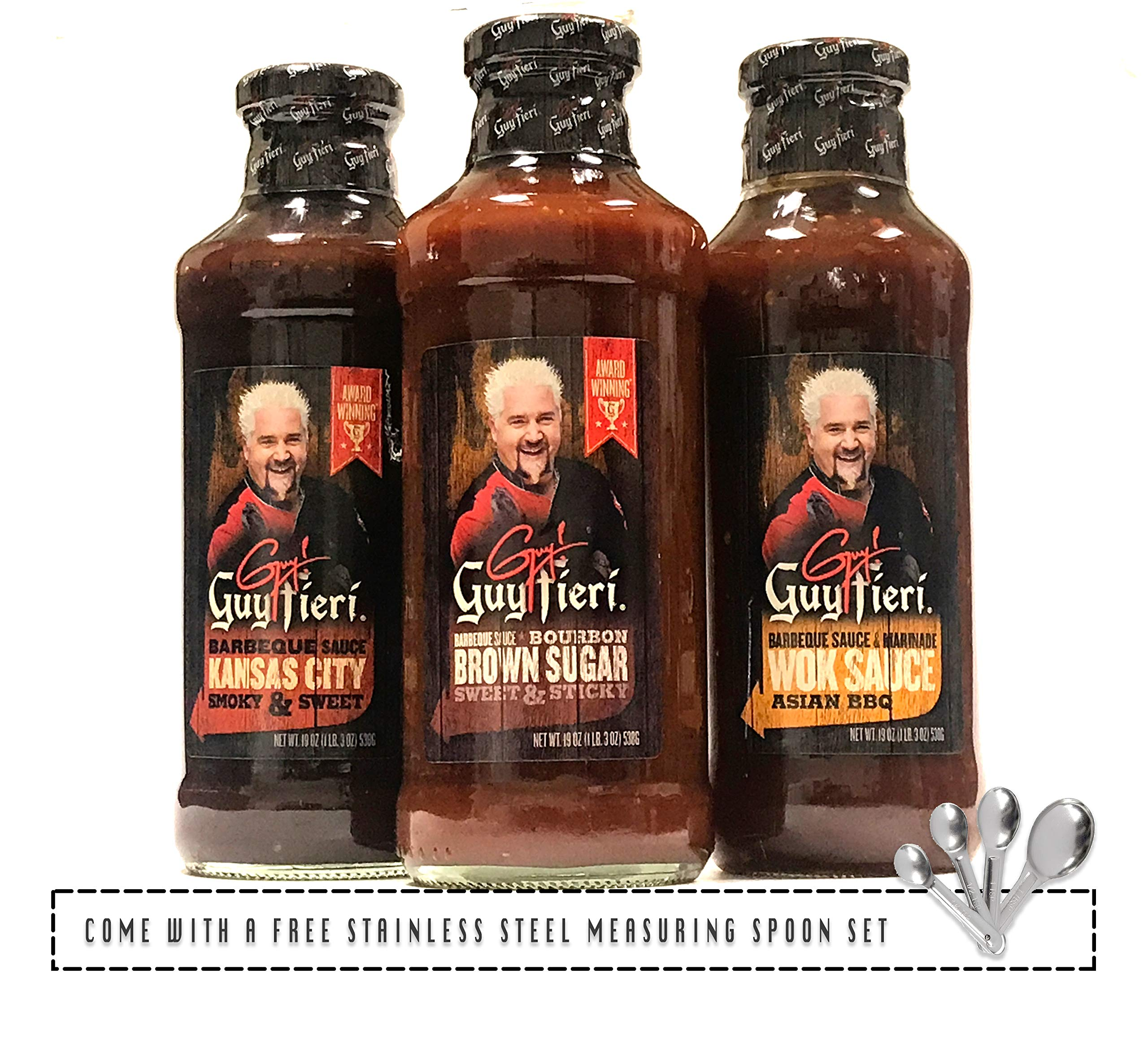 Guy Fieri Grill Master BBQ Sauce Variety Pack (Brown Sugar, Kansas City, Wok Sauce), Come w/ a Free Stainless Measuring Spoon | Pack of 3