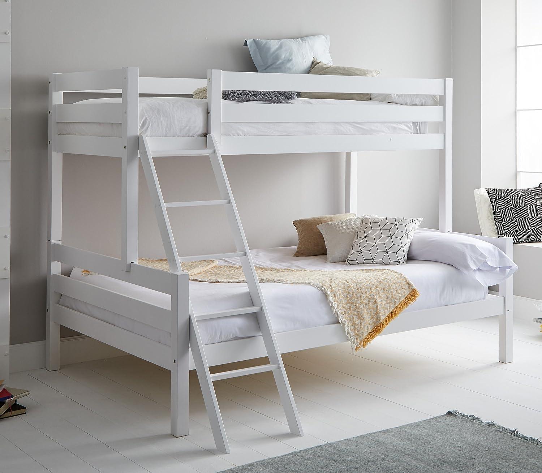 Miroytengo Litera Blanca Capricho con somieres incluidos Fabricada en Madera de Pino con Escalera Cama Inferior 135x190 cm y Cama Superior 90x190 cm