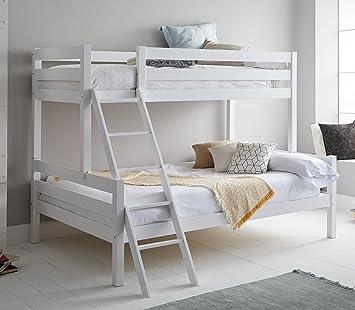 Miroytengo Litera Blanca Capricho con somieres incluidos Fabricada en Madera de Pino con Escalera Cama Inferior 135x190 cm y Cama Superior 90x190 cm: Amazon.es: Hogar