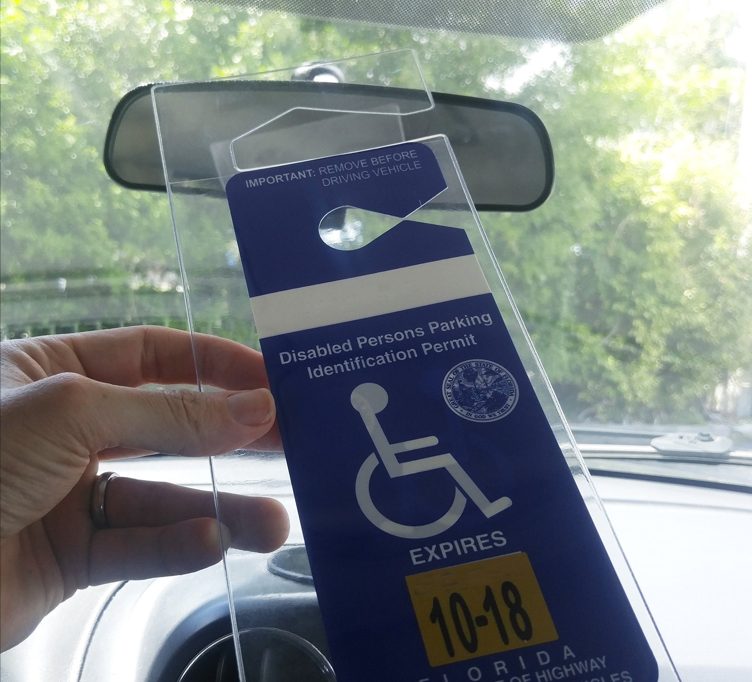 4 Pack - Clear Handicap Parking Placard Protective Holders - Rear View Mirror Disability Permit Hanger - Hard Flexible Plastic Construction - by Specialist ID by Specialist ID (Image #4)