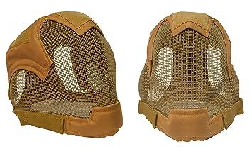 Almohadillas de calidad Full Face máscara de esgrima BB Airsoft malla máscara MA19, canela