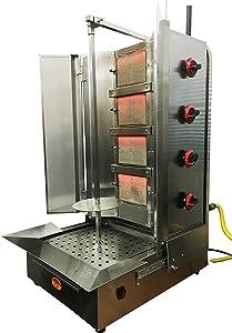Shawarma Machine- Gyro Machine-Tacos al Pastor Machine- Doner Machine- Commerical Vertical Broiler 4 Burners Natural Gas - Maneuverable Burners- Capacity 85lbs