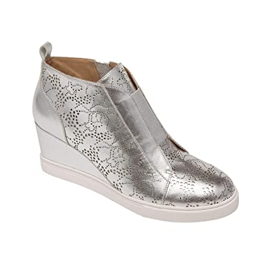 201cb6ff5b Felicia | Our Original Platform Wedge Sneaker Bootie in Silver Laser Nappa  5M