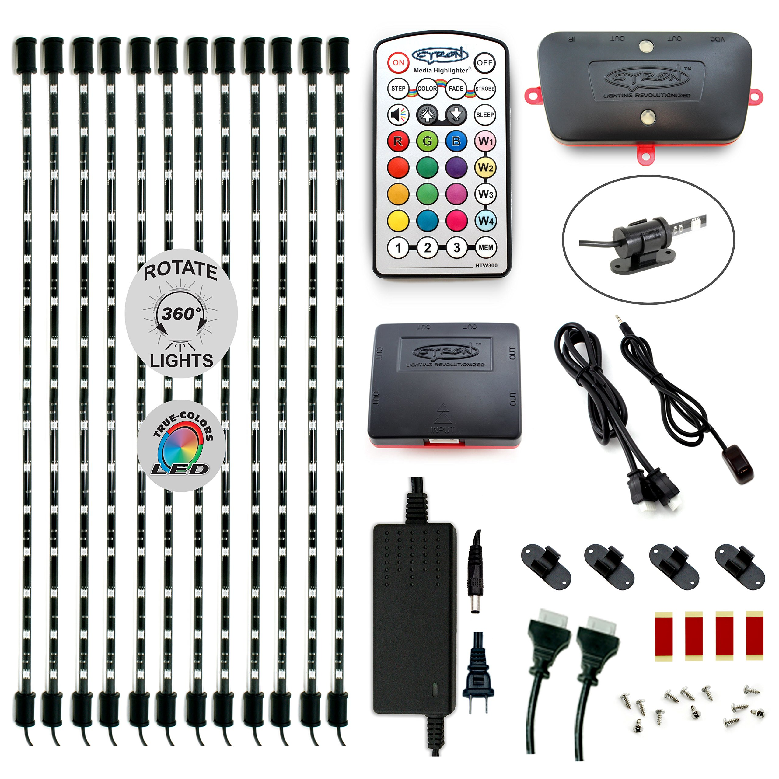 Cyron RGB LED Under Counter Cabinet Dimmable Multicolor Light TV Accent Lighting Kit, Advanced Series Controller, 360 Degrees Rotatable, ETL Listed, 12 x 24 Inch LED Bars