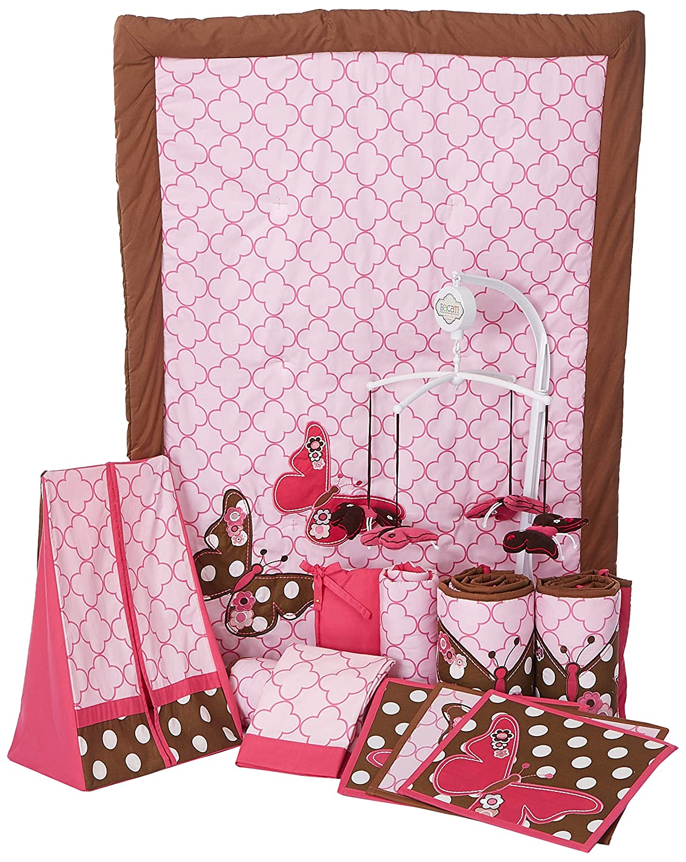 Amazon.com: Mariposas Rosa/Chocolate 10 pieza Cuna Set: Baby