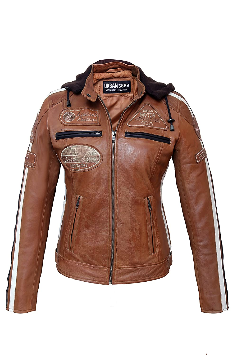 Urban Leather 58 Leren Bikerjack, Chaqueta de Moto para Mujer, Marrón (Tan), 36 / S