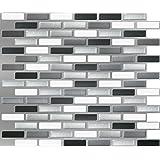 "Peel & Impress 11"" x 9.25"" Adhesive Vinyl Wall Tiles, Glass Urban Oblong, 4 Pack"