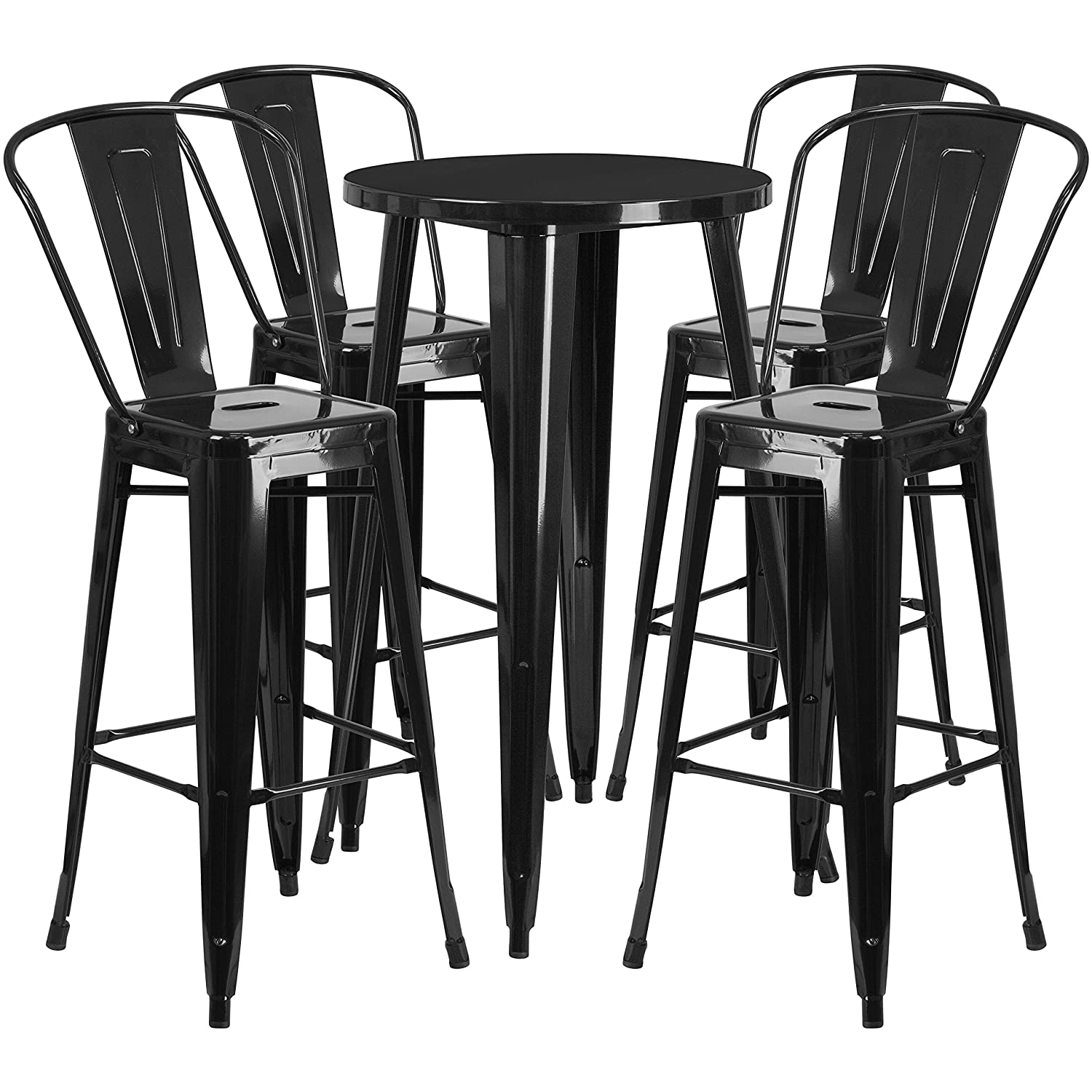 Flash Furniture 24 Round Black Metal Indoor-Outdoor Bar Table Set with 4 Cafe Stools