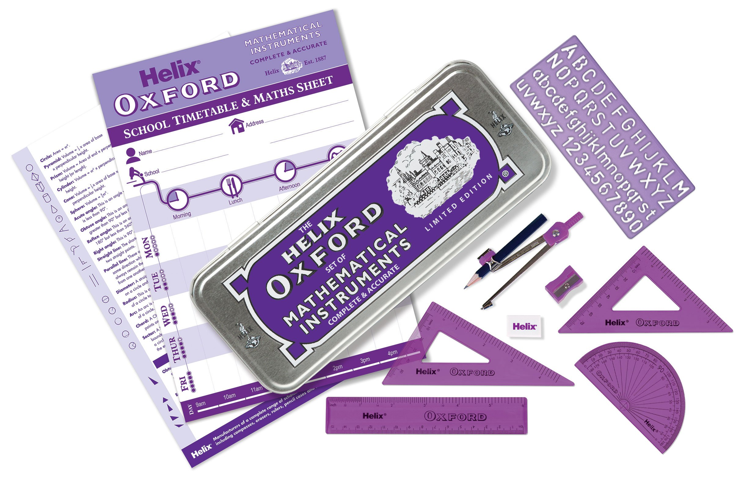 Helix Oxford Colours Maths Set - Purple