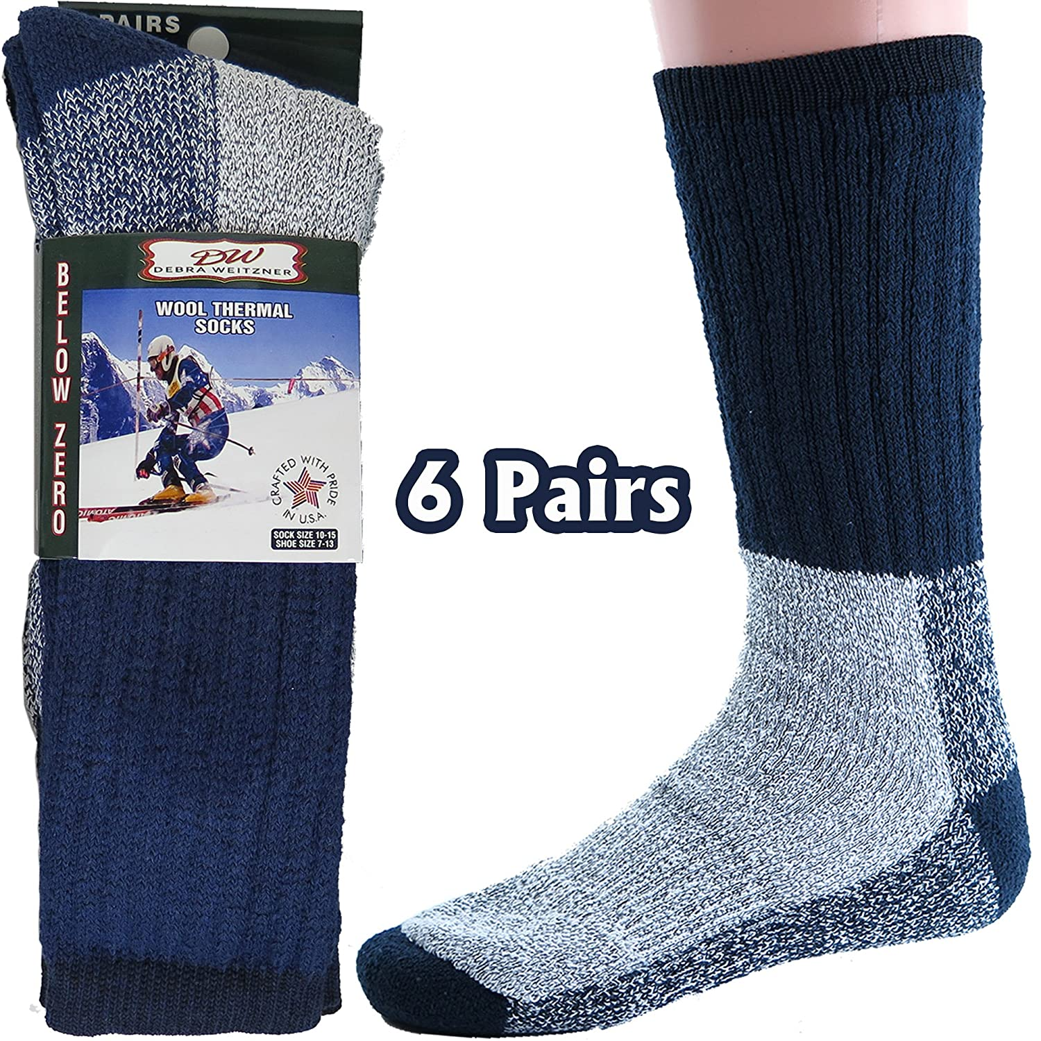Mens Womens Thermal Socks Heavy Extreme Cold Weather Boot Socks 6-pack By DEBRA WEITZNER sck-thr-t9-6pk-parent