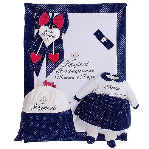 Corredino neonato bimba Bianco e blu glitterato da personalizzare con frasi  ricamate - abbigliamento neonato con 20c6b4431f7