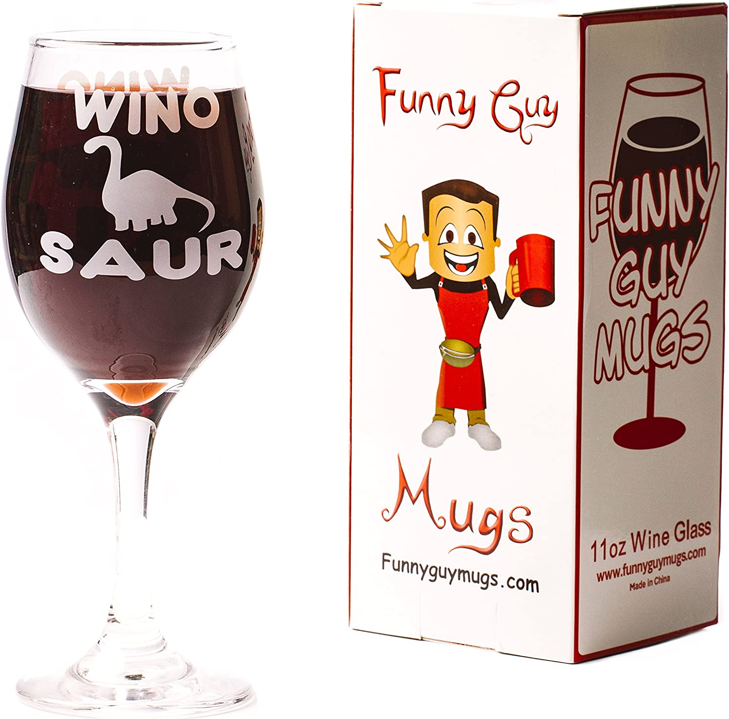Unique Gift for Women Girlfriend Wife 11-Ounce Aunt Mom Funny Guy Mugs Wino Saur Wine Glass Sister Daughter Teacher or Coworker