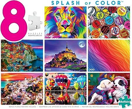 Free Personalization Splash /& Bubbles Custom Made 88 Piece Puzzle Size 9.8 x 7.5 Choose Background Color