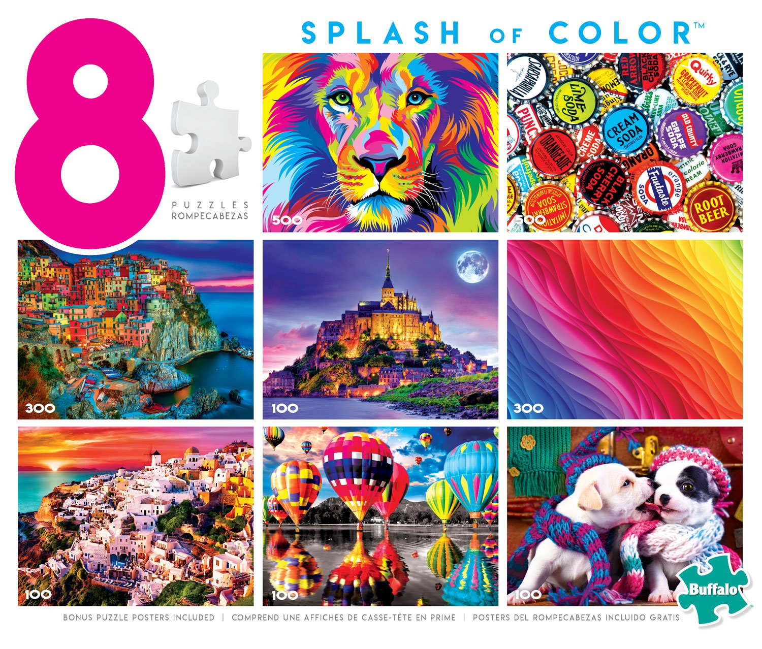Buffalo Games Splash of Color 8-in-1 Jigsaw Puzzle Multi-Pack