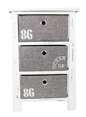 Holz Regal Mit 3 Kisten Weiß Grau L   57cm