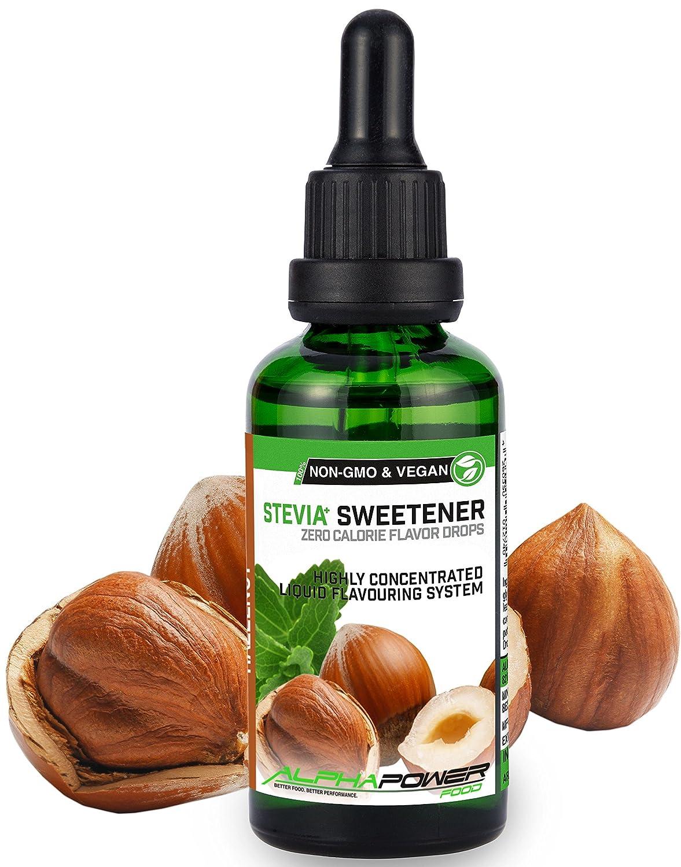 ALPHA POWER FOOD: Stevia líquida natural - Stevia Gotas de avellana, Edulcorante natural, sustituto del azúcar con sabor - sin azúcar & calorías: Amazon.es: ...