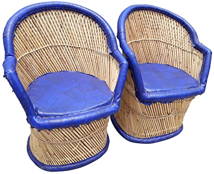 PatioStack Bamboo Leather Handicraft Outdoor Rattan & Wicker Sitting Chairs Furniture Set for Garden / Terrace / Lawn / Balcony / Restaurant / Cafe / Living Room / Drawing Room [ 2 Blue Chairs, Size :18*18*34 ]