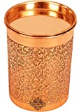 IndianArtVilla Embossed Design Copper Glass Tumbler Cup with Lid, Drinkware, Benefit Yoga Ayurveda, 300 ML
