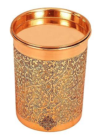 Indian Art Villa Copper Glass Tumbler, Embossed Design, Drinkware