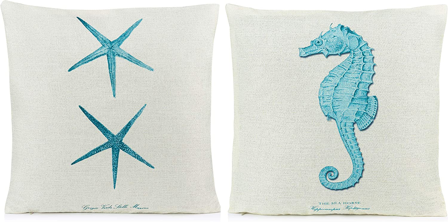 Beach Pillows Decorative Throw Pillows Coastal Throw Pillows Covers 2 Pack 18 X 18 Inch Beach Theme Couch Pillow Covers With Starfish Seahorse Home Kitchen Amazon Com