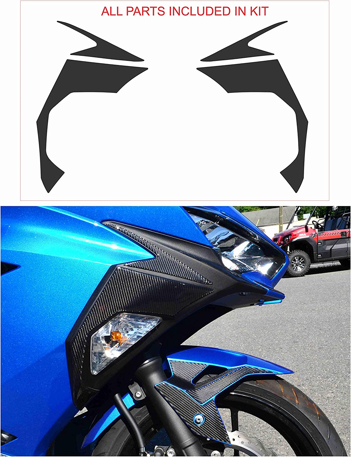 Premium Real Carbon Fiber Sides Fairing Blinker Cover Trim kit fit Kawasaki Ninja 400 2018 2019 2020 Sticker Overlay Trim