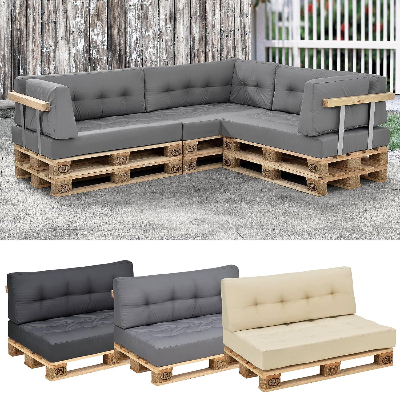 [en.casa] 1x Cuscino sedile per divano paletta euro [grigio chiaro] cuscini paletta per detro e fuori