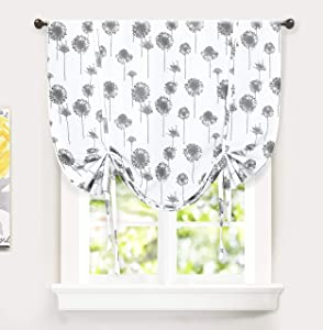 DriftAway Dandelion Floral Botanical Pattern Painting Tie Up Curtain Room Darkening Thermal Insulated Window Curtain Adjustable Balloon for Small Window Rod Pocket 1 Panel 45 Inch by 63 Inch Gray