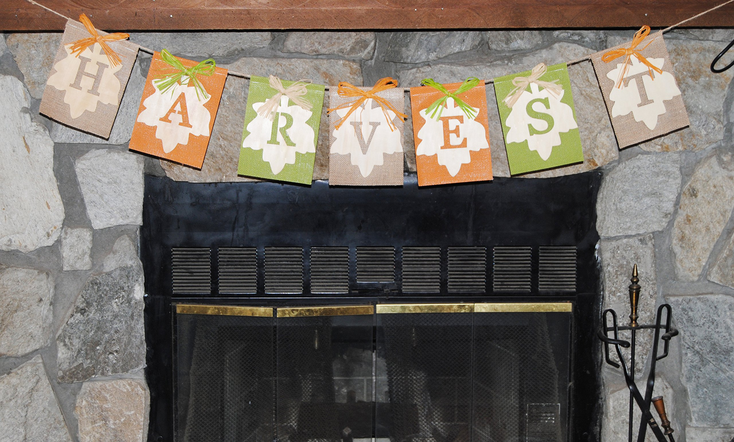 Fall ''Harvest'' Burlap and Wood Banner